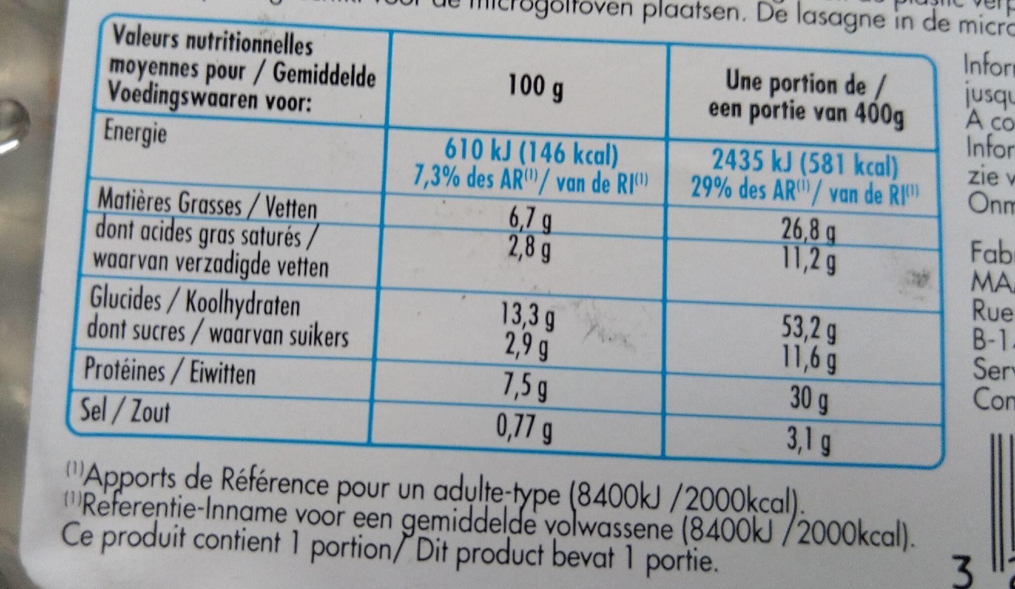 Lasagne bolognese - Voedingswaarden - fr