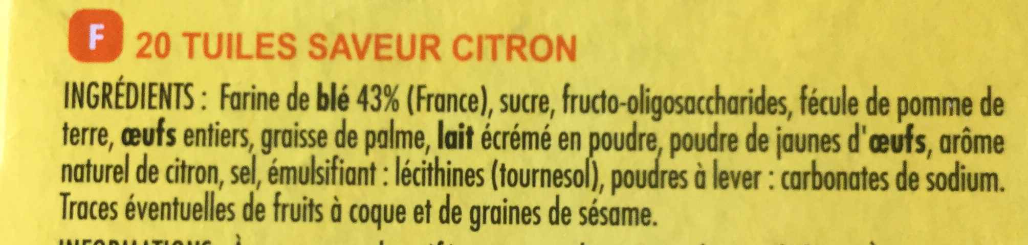 Tuiles Saveur Citron - Ingredients - fr