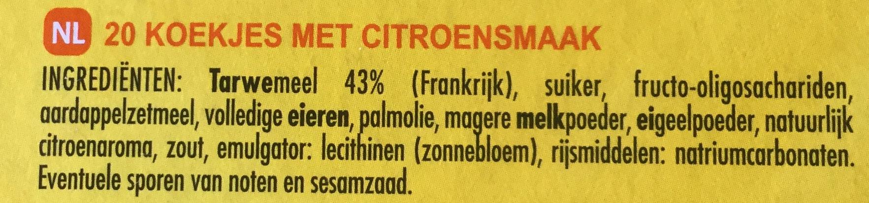 Tuiles Saveur Citron - Ingrediënten - nl