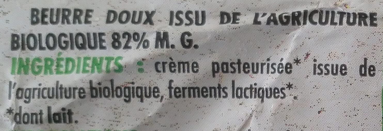Beurre Moulé Doux (82 % MG) - Ingrédients - fr