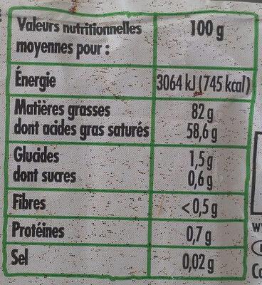 Beurre Moulé Doux (82 % MG) - Informations nutritionnelles - fr