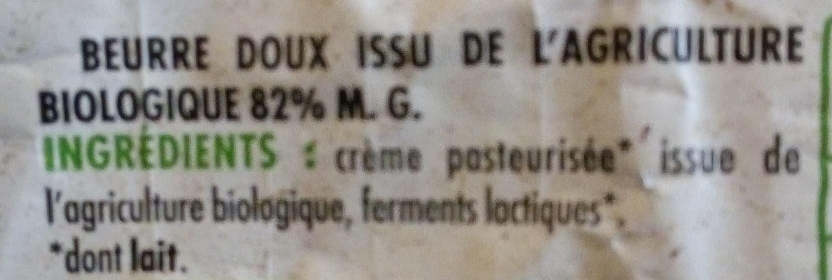 Beurre moulé doux Bio - Ingredients