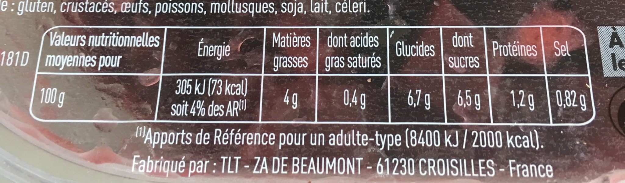 Betteraves Rouges - Nutrition facts - fr