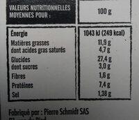 Flammekueche - Nutrition facts - fr