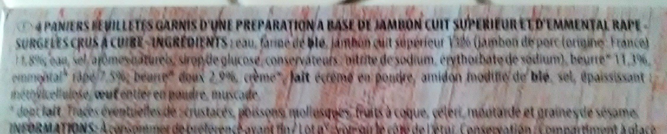 Paniers Feuilletés Jambon Emmental - Ingrédients