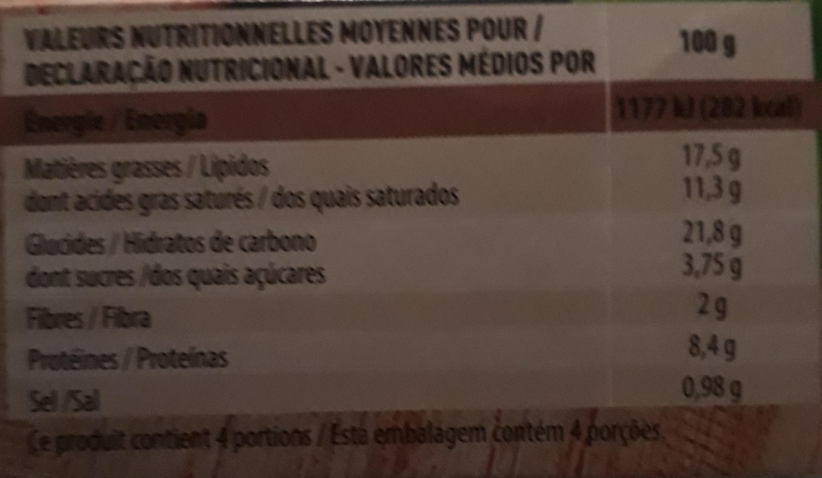 Paniers Feuilletés Jambon Emmental - Informations nutritionnelles