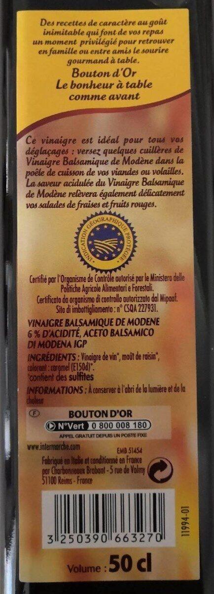 Vinaigre balsamique de Modène - Nutrition facts - fr