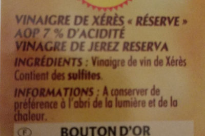 Vinaigre De Xeres 50 cl - Ingredients - fr
