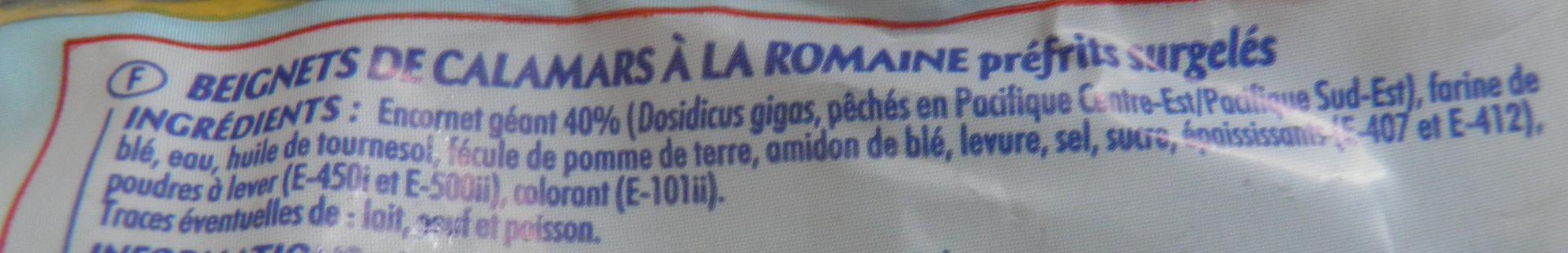 Calamars à la Romaine Odyssée - Ingrédients - fr