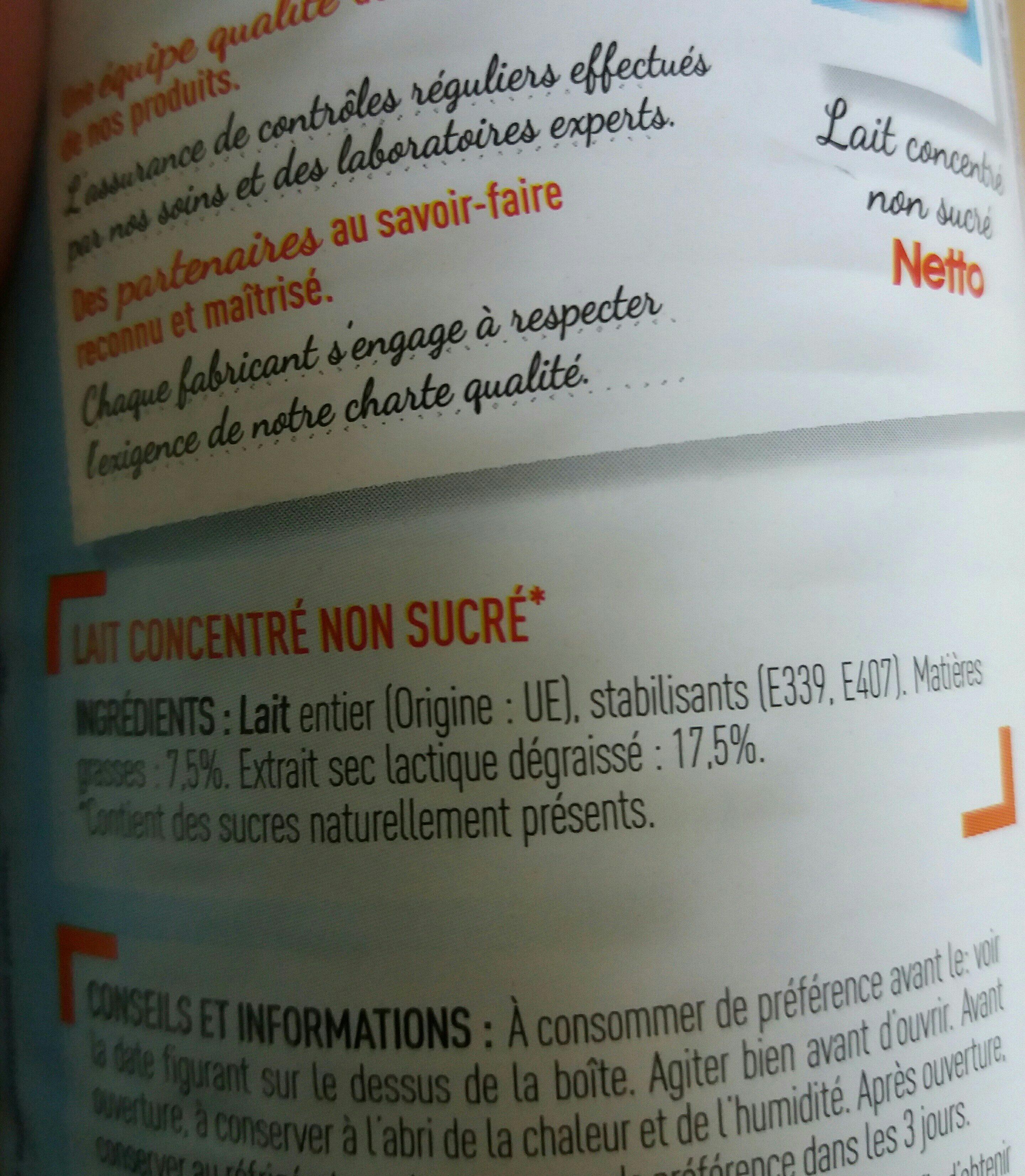 Lait Concentre Non Sucré - Ingredients