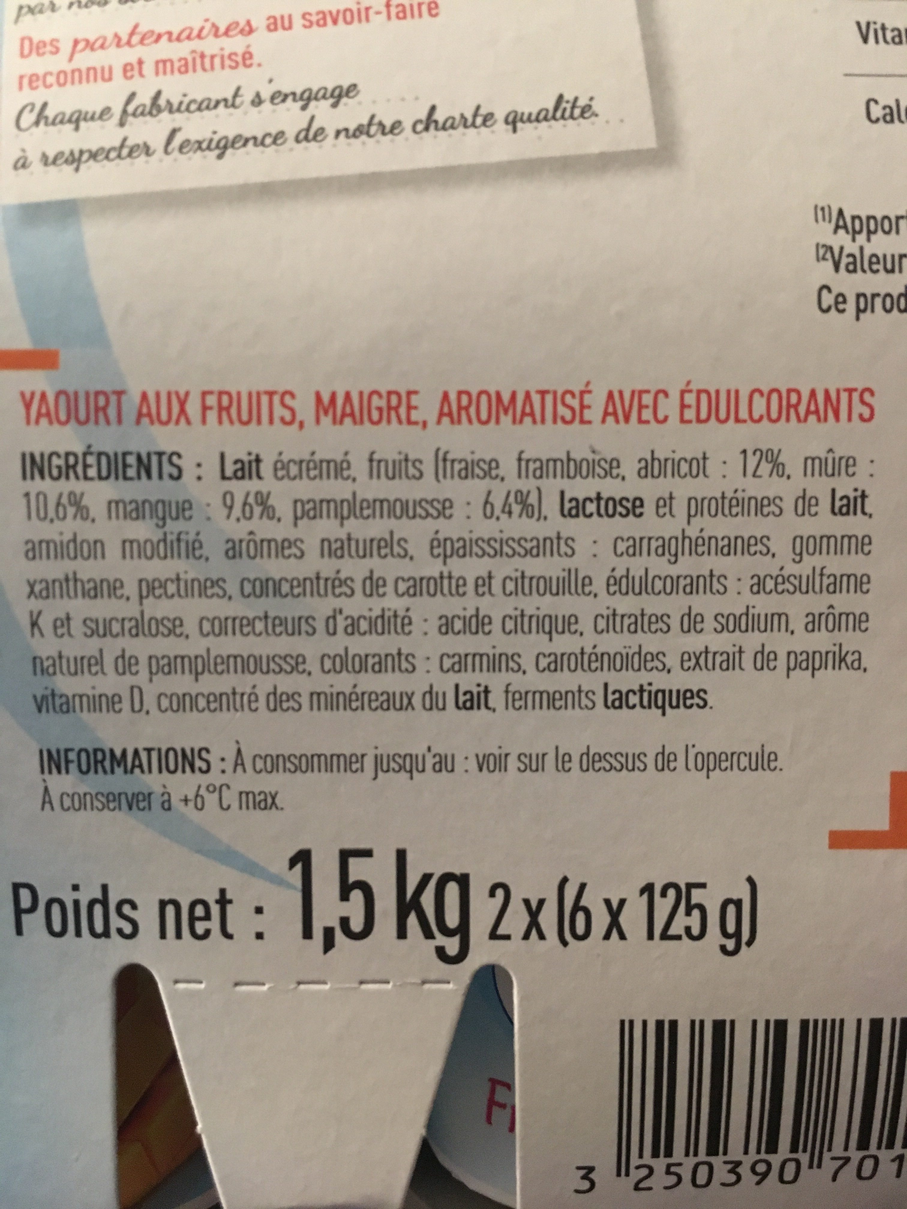 Yaourt aux fruits - Ingredients