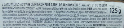 Jambon beurre pain de mie complet - Ingrédients
