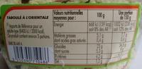Taboulé à l'orientale - Informations nutritionnelles - fr