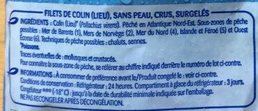 Filets de Colin-Lieu - Ingredienti