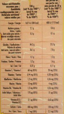 Céréales miélak au miel - Nutrition facts - fr