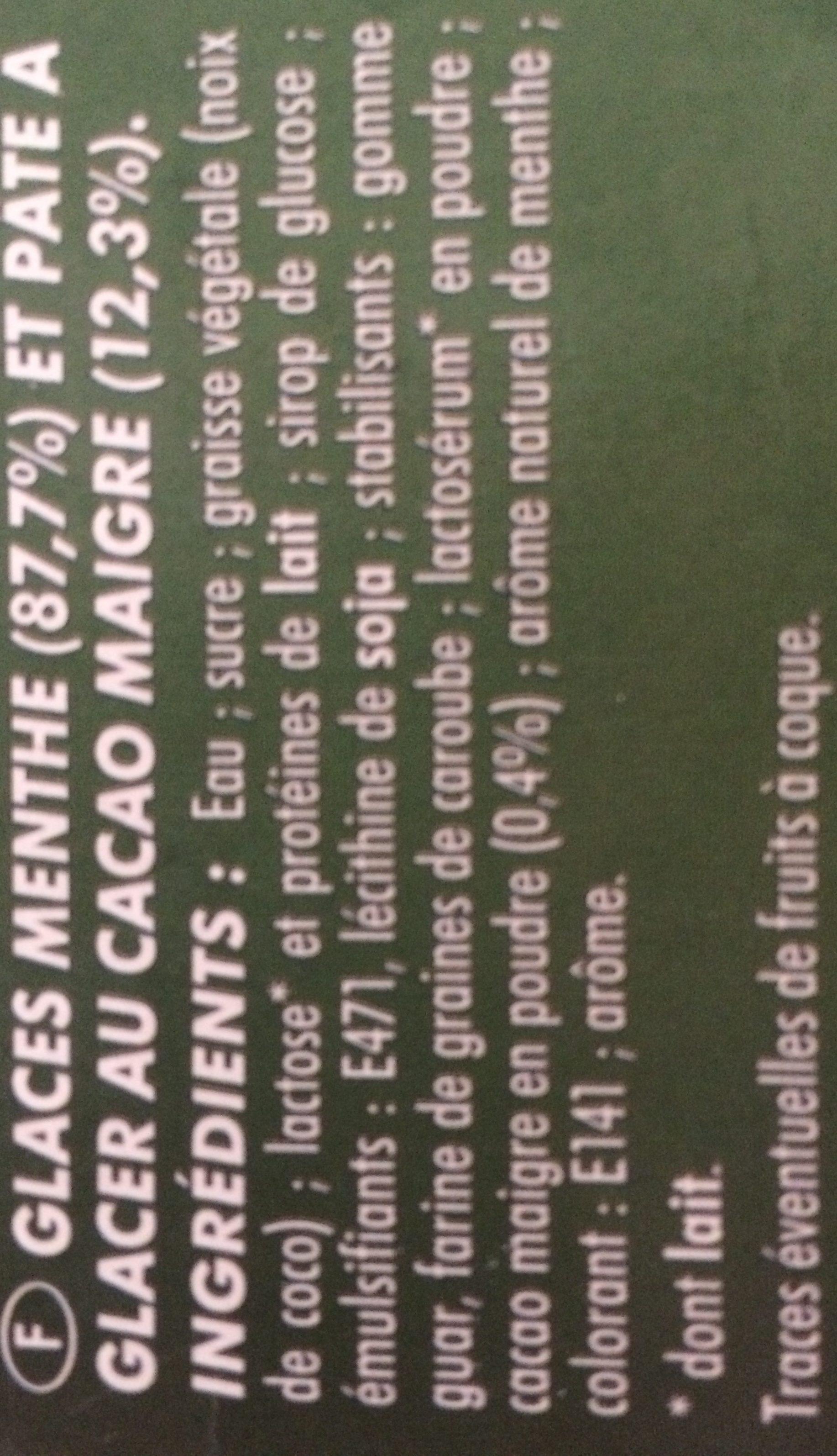 Glace Menthe Avec Pâte à Glacer Au Cacao Et Copeaux De Chocolat Blanc - Ingredients - fr