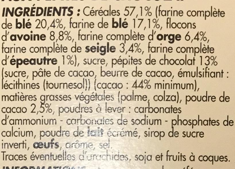 Biscuits pour le petit déjeuner - Pépites de chocolat & cacao - Ingredients - fr
