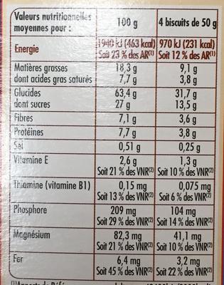 Biscuits pour le petit déjeuner - Pépites de chocolat & cacao - Nutrition facts - fr