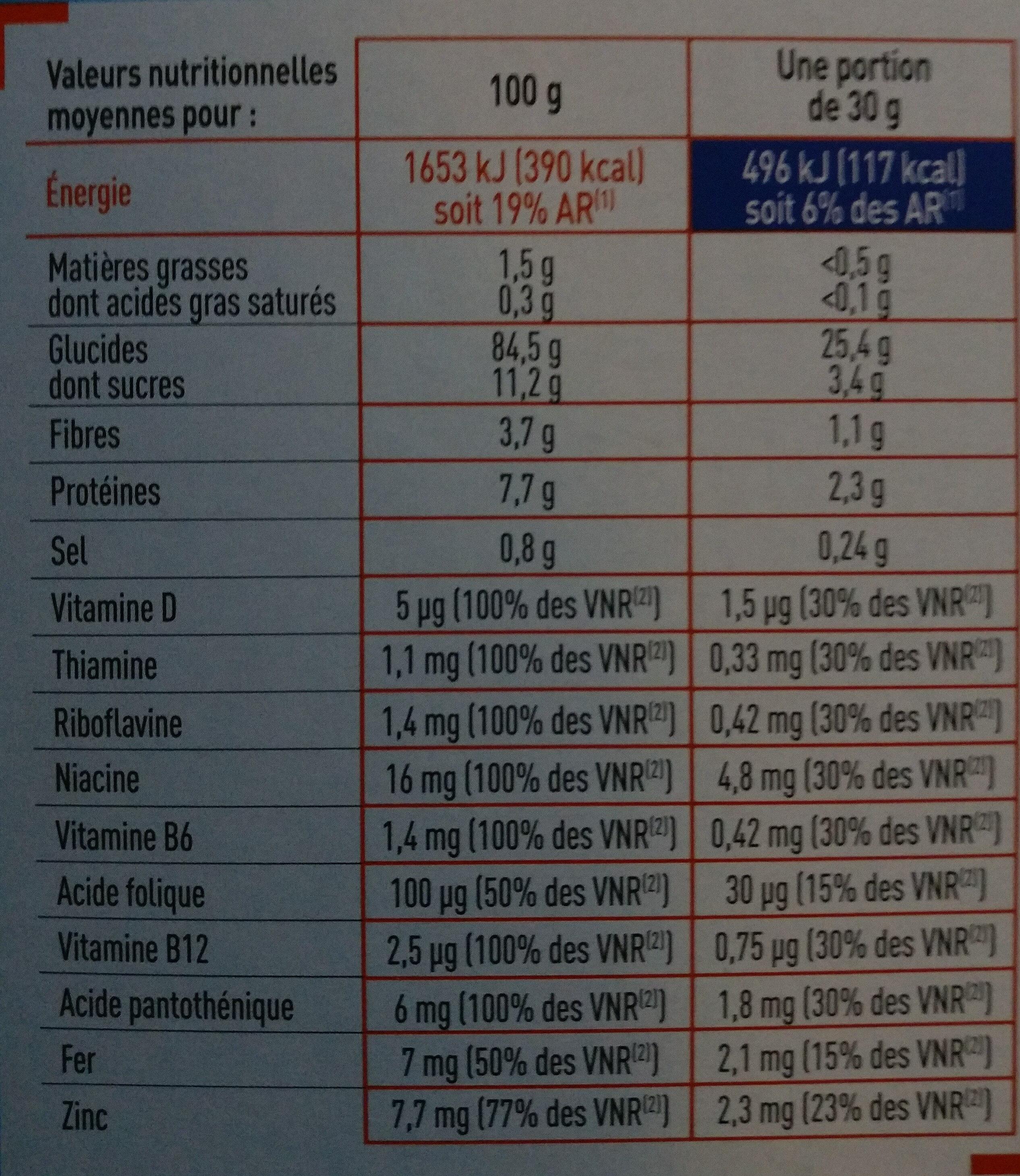Céréales Pétales de riz, blé complet et orge - Informations nutritionnelles - fr