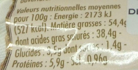 Itinéraire des saveurs - Nutrition facts - fr