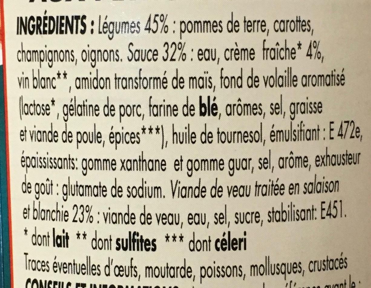 Blanquette de Veau aux petits légumes sauce à la crème fraiche - Ingrédients - fr