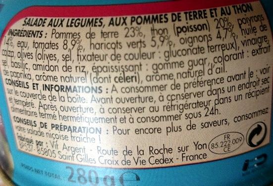 Salade au Thon Niçoise - Ingrédients - fr
