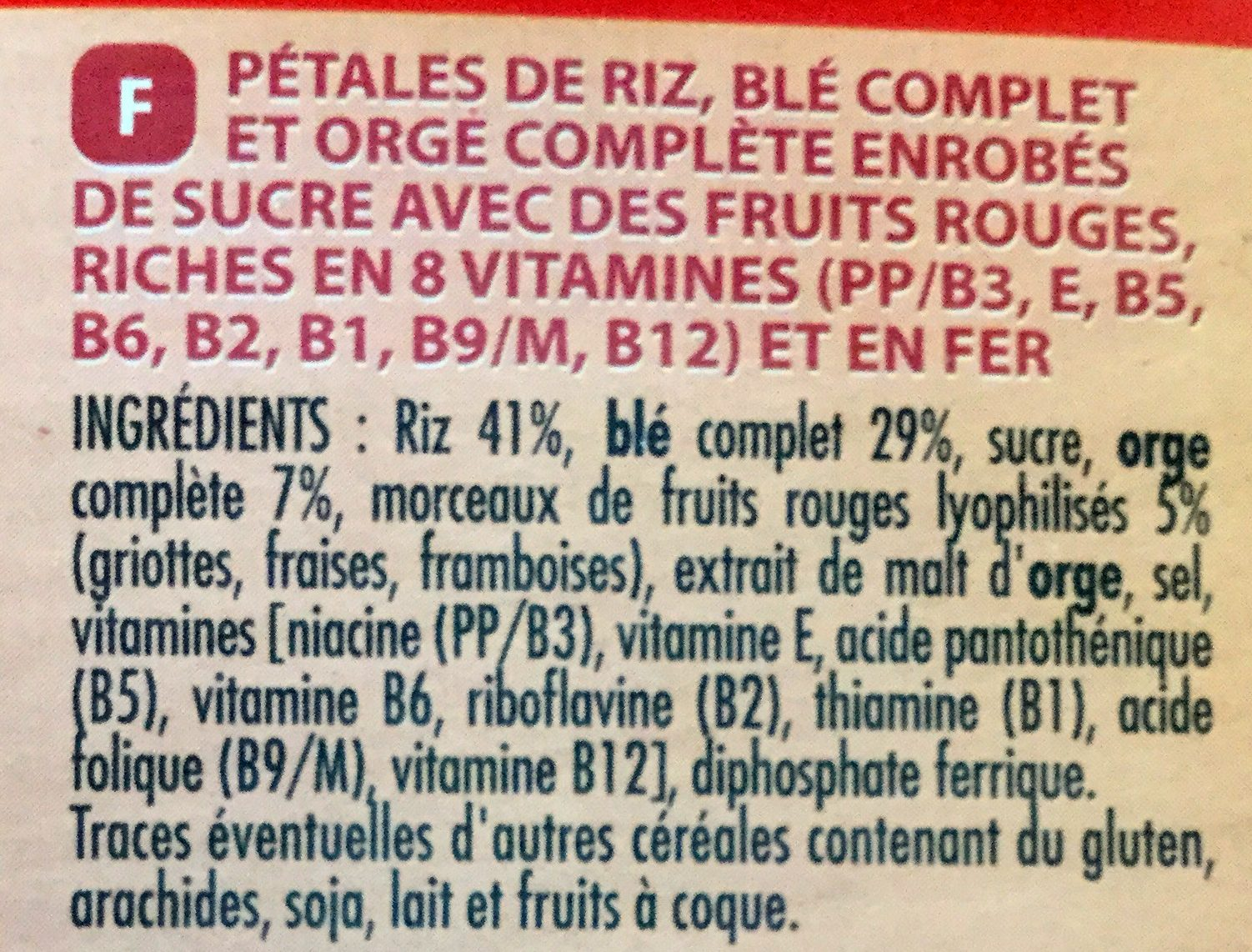 Céréales forme fruits rouges - Ingrédients - fr