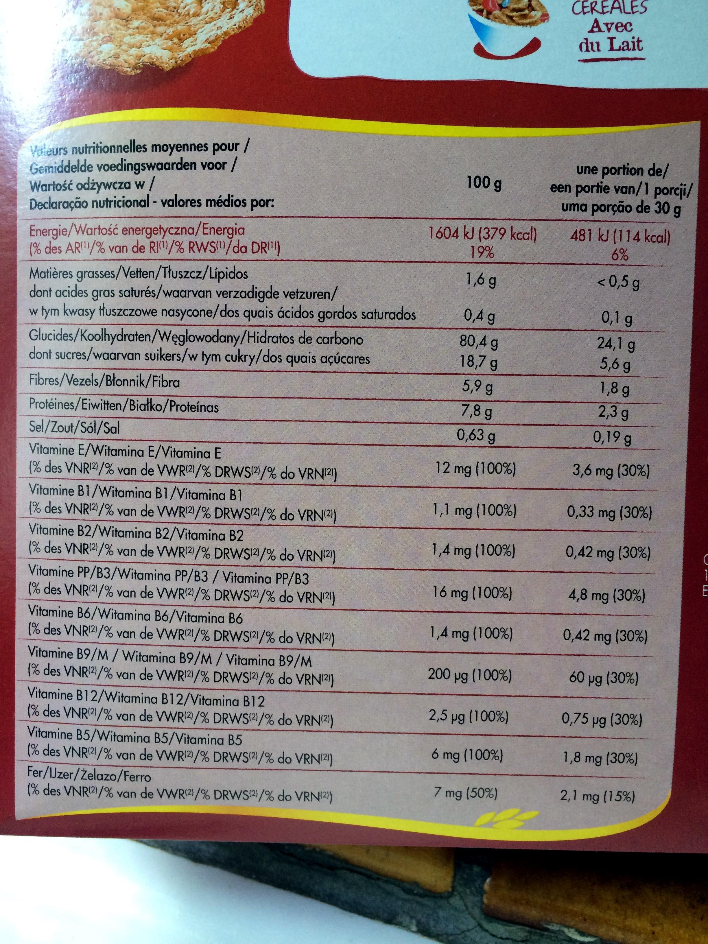 Céréales forme fruits rouges - Voedingswaarden - fr