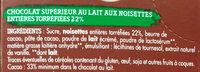 Chocolat au Lait aux Noisettes Entières - Ingrédients
