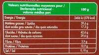 Chocolat au Lait aux Noisettes Entières - Informations nutritionnelles