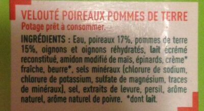 Velouté  poireaux pommes de terre - Ingredients - fr