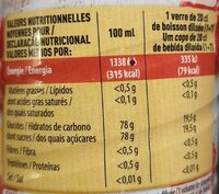 Sirop pêche framboise - Nutrition facts - fr