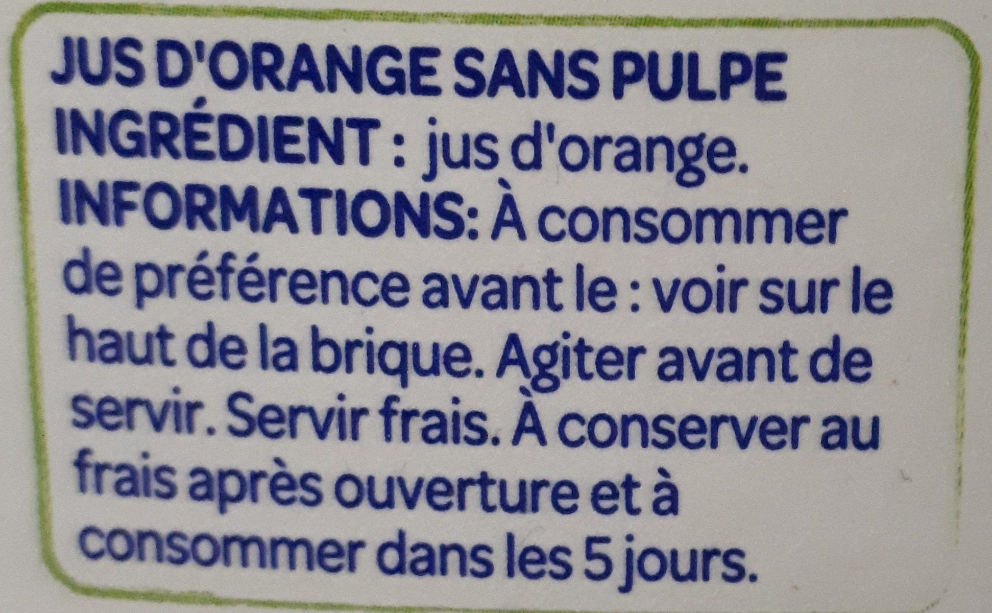 Jus d'orange 100% pur jus - Ingredients