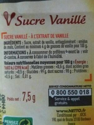 Sucre vanillé - Nutrition facts