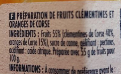 Préparation de clémentines et oranges de Corse - Ingredients