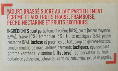 Yaourt Brassé aux Fruits Mixés - Ingrediënten - fr
