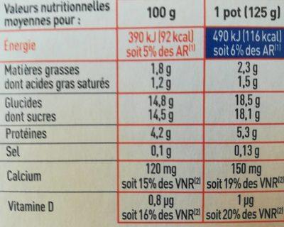 Yaourt Brassé aux Fruits Mixés - Voedingswaarden - fr