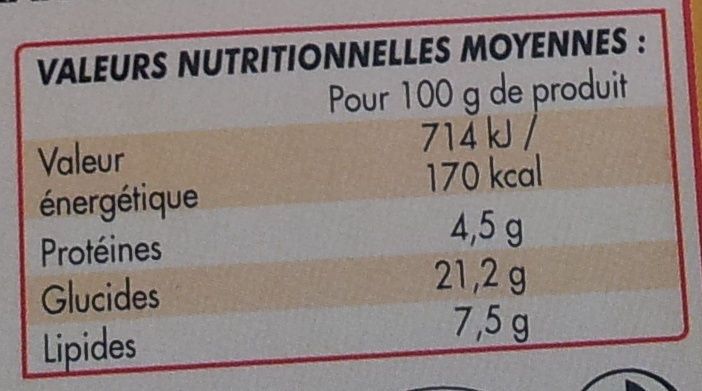 Crème aux oeufs, saveur vanille - Informations nutritionnelles - fr