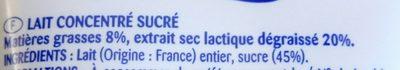 Lait concentré sucré - Ingrédients - fr