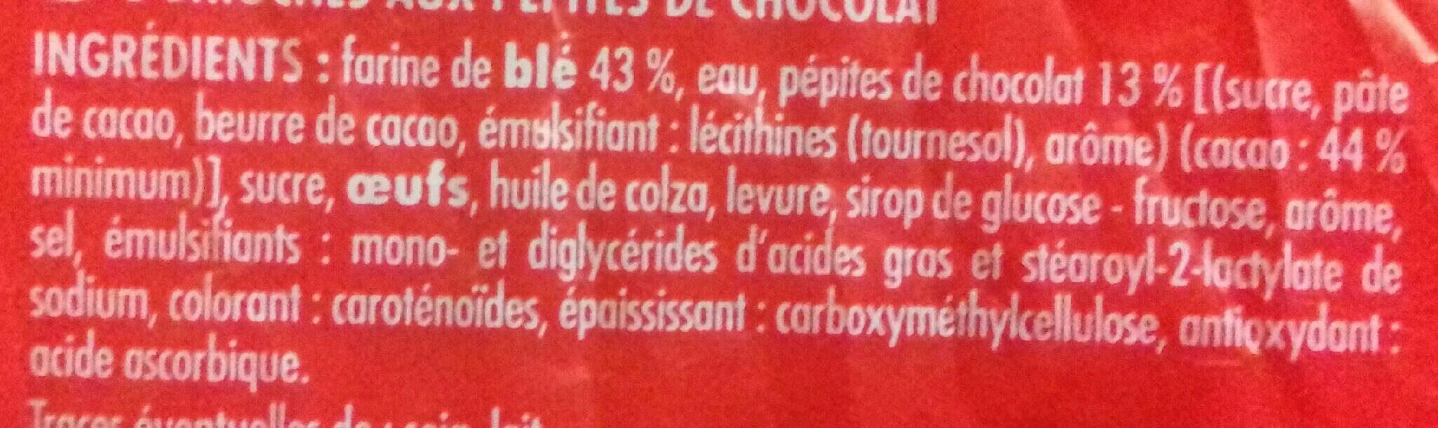 Brioches (x 8) aux Pépites de Chocolat - Ingredients