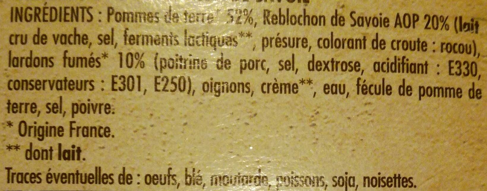 Tartiflette au reblochon de savoie label rouge - Ingredients - fr