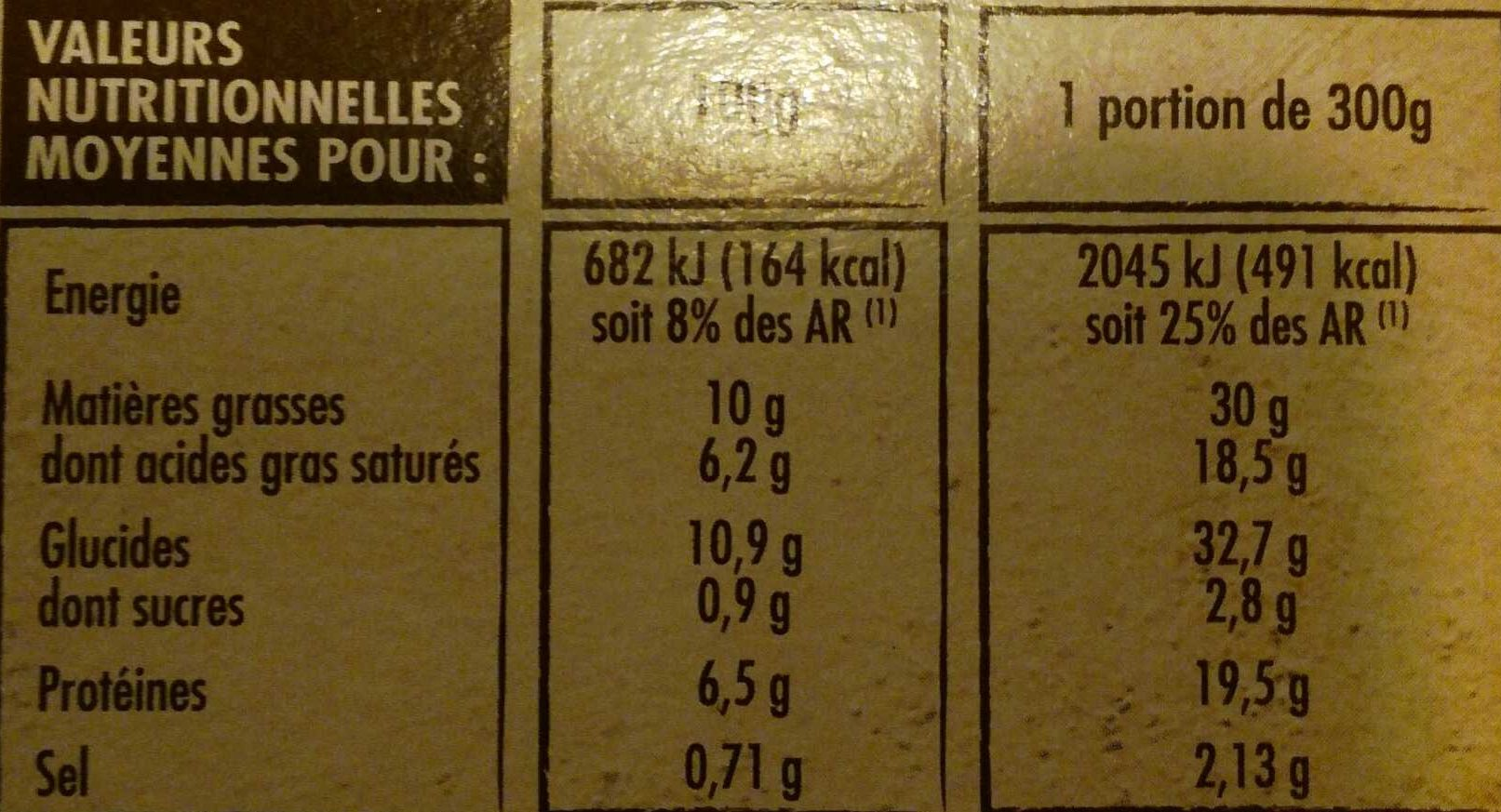 Tartiflette au reblochon de savoie label rouge - Nutrition facts - fr