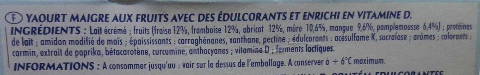 Printiligne Les Fruits (0 % M.G.) - Ingrédients - fr