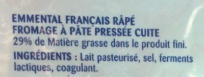 Emmental français rapé - Ingrédients