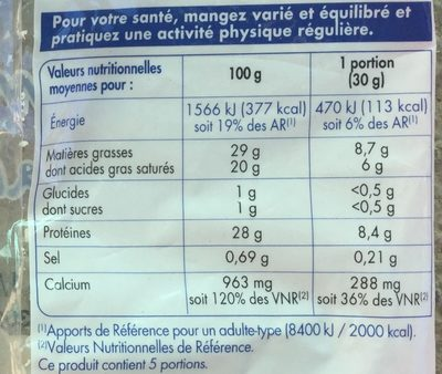 Emmental français rapé - Informations nutritionnelles