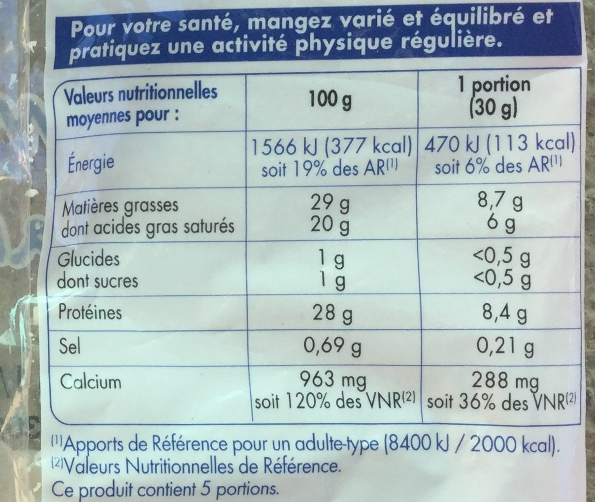 Emmental français rapé - Nutrition facts - fr