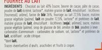 À toute heure… Barres chocolatées fourrées lait choco crème - Ingrediënten