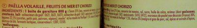 Paëlla Volaille, Fruits de mer et Chorizo (Lot de 2) - Ingrédients