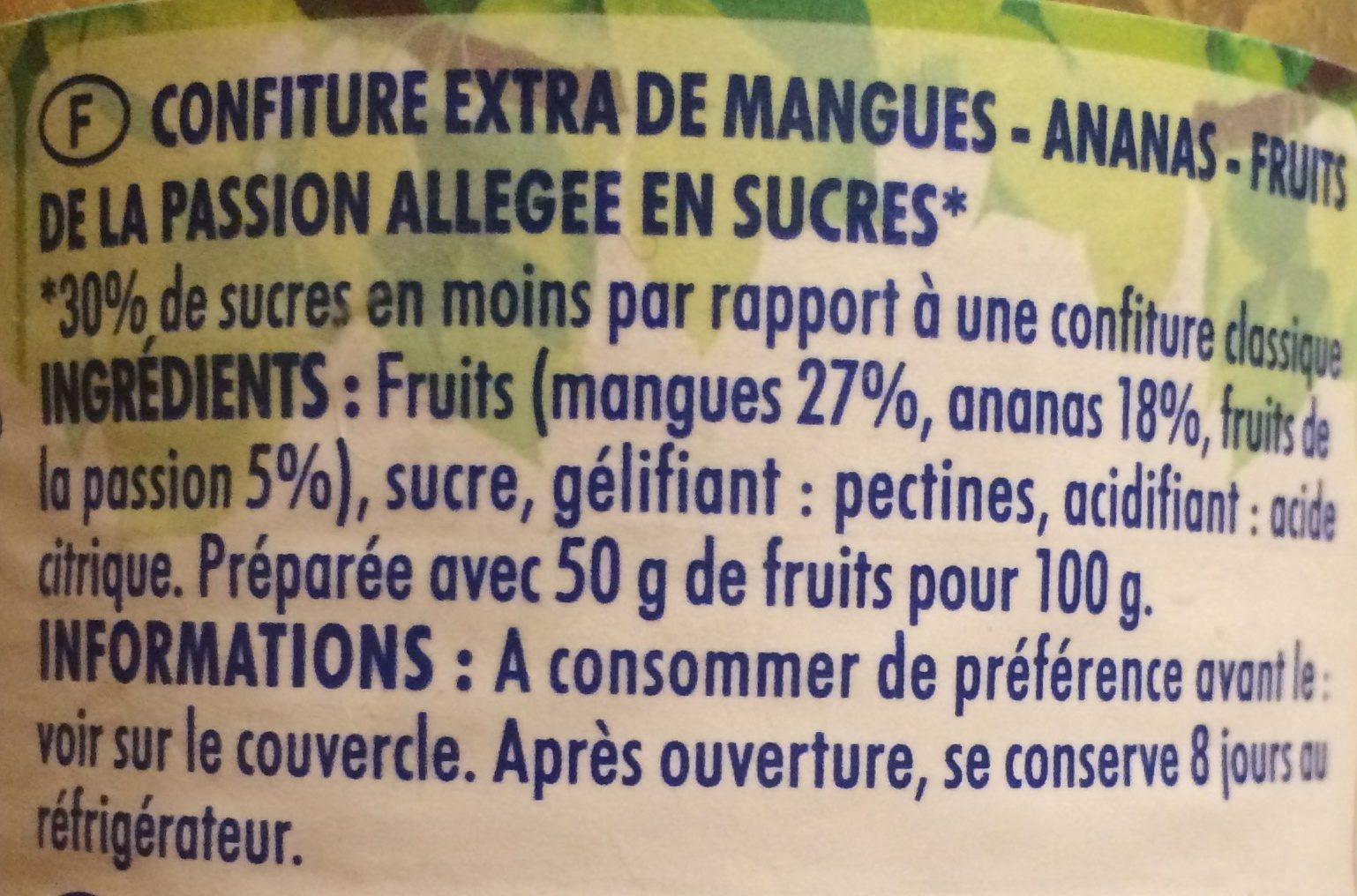 Confiture Allégée mangue ananas passion - Ingrediënten - fr