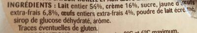 Petit pot de crème saveur vanille - Ingredients